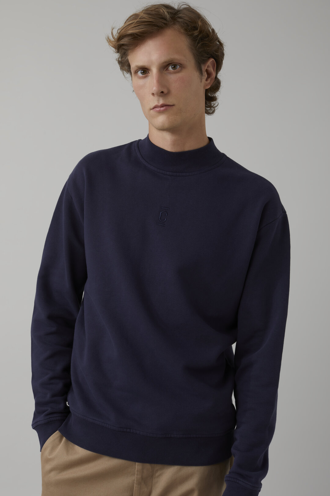 Sweatshirt with Stand-Up Collar