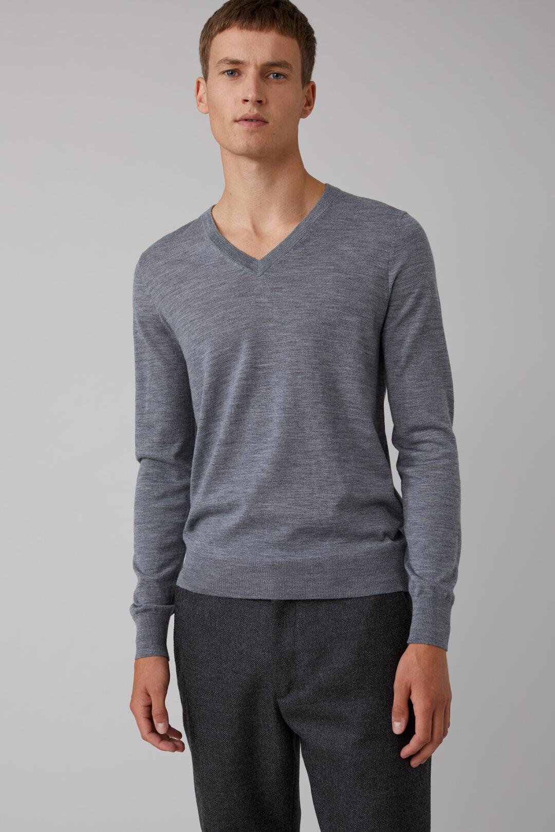 Pullover col en V laine mérino