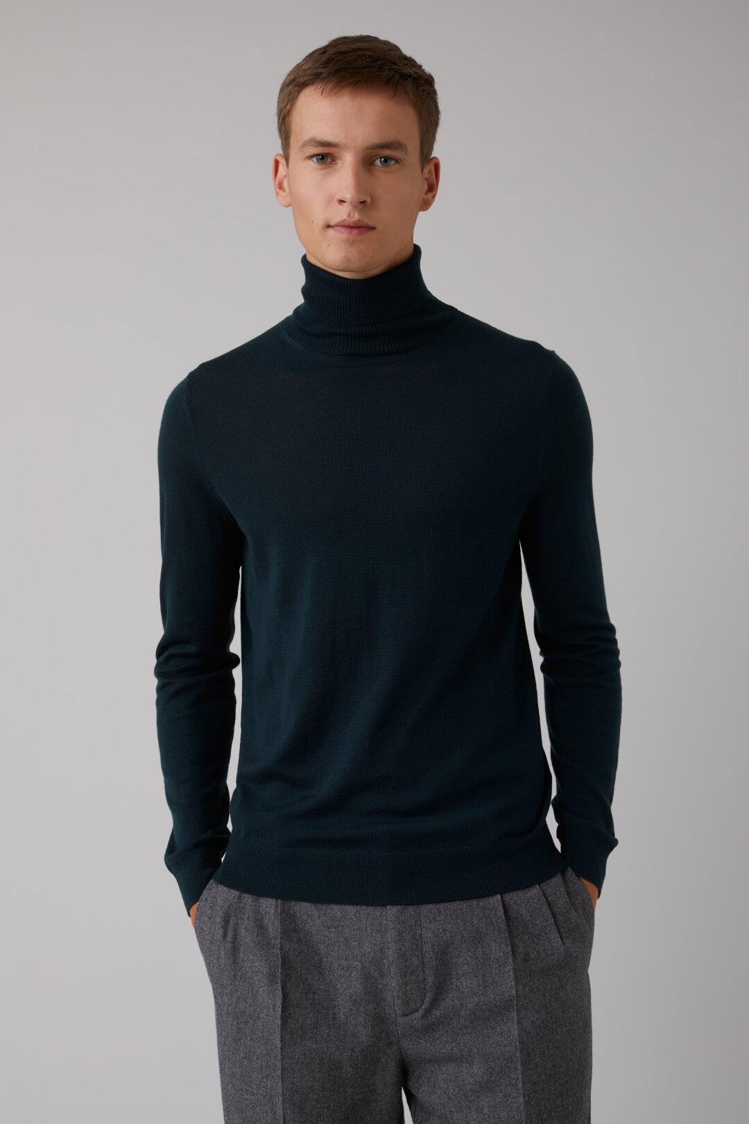Pullover à col roulé en laine mérino