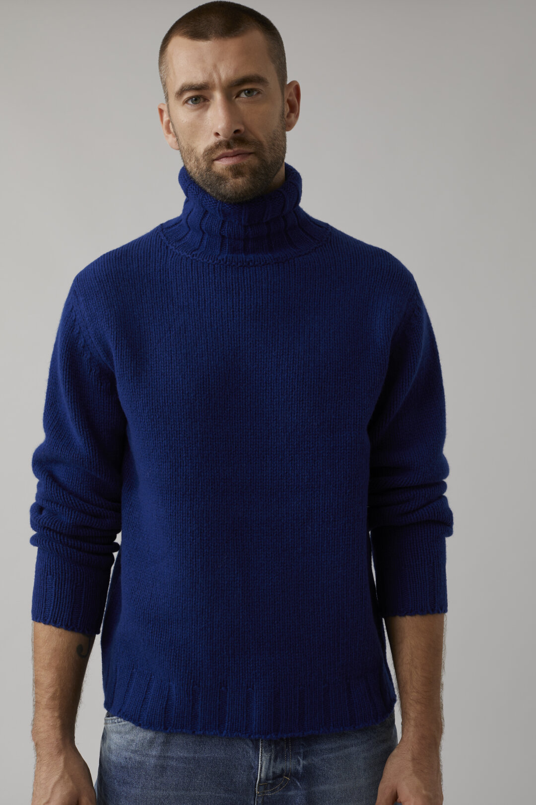 Pure Wool Stand-Up Collar Sweater