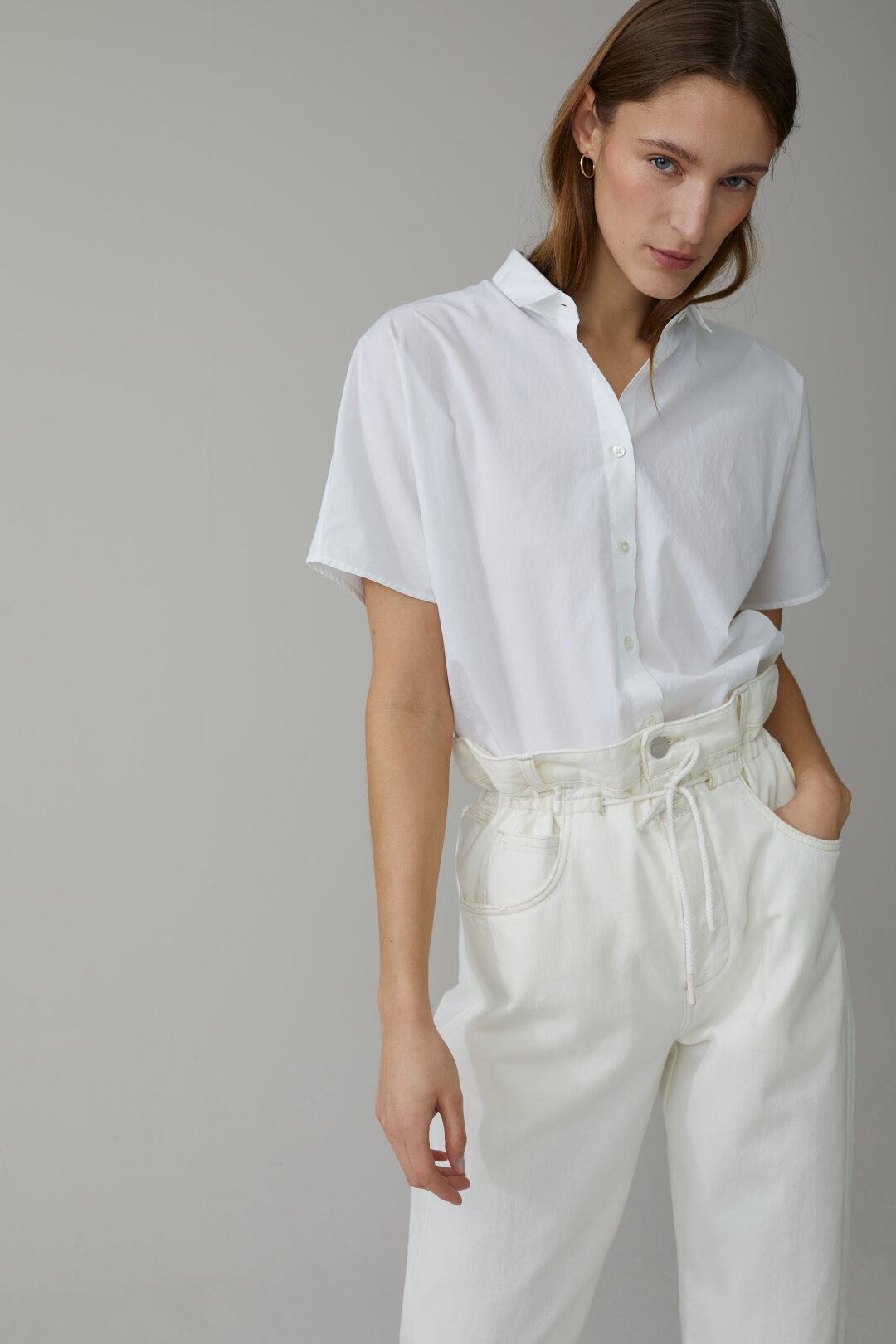 Poplin Half-Sleeved Blouse