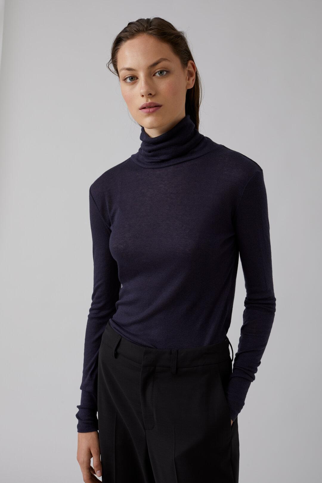 Shirt à col roulé en lyocell & laine