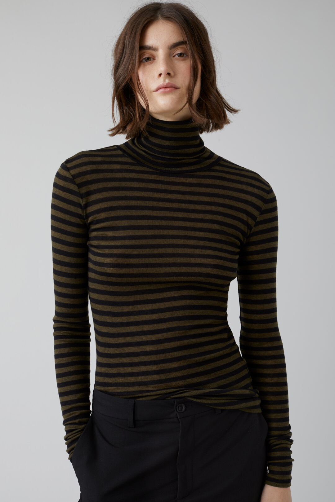 Striped Lyocell & Wool Turtle Neck Shirt