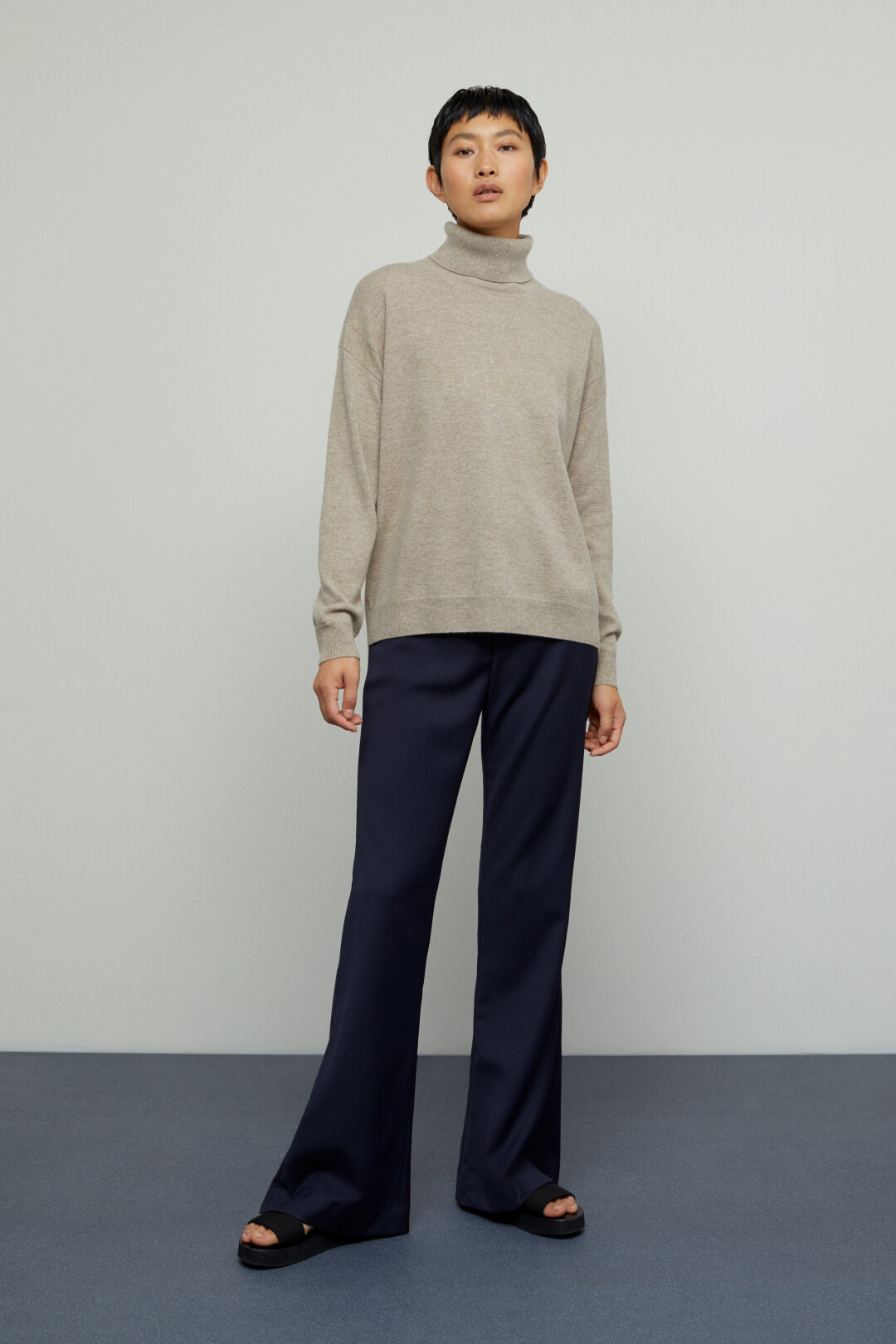 Merino Wool & Cashmere Turtle Neck Sweater