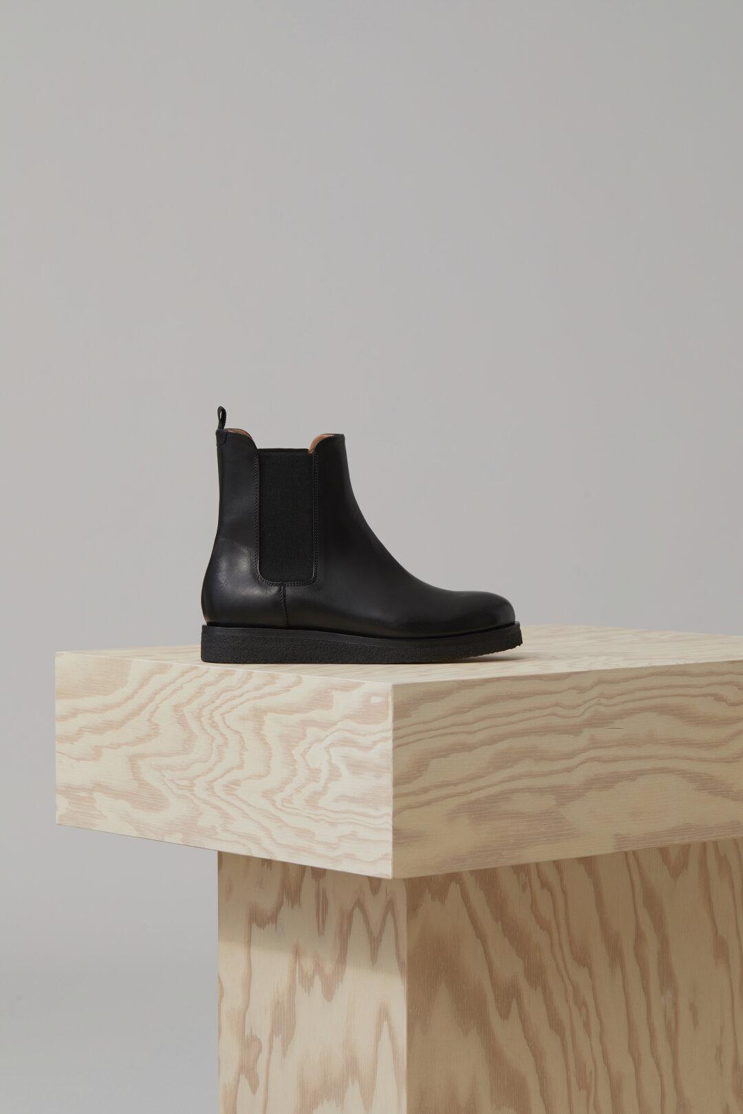 Schwarz graue Stiefel im Cowboy Look aus Kalbsleder von